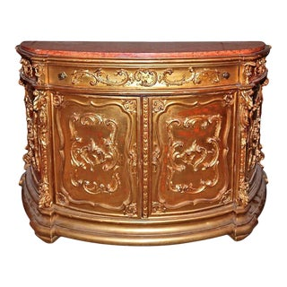 19th C. Italian Gilded Marble Top Buffet