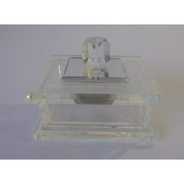 Handcrafted Art-Deco Clear Lucite Jewelry Box - Image 2 of 8
