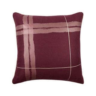 """Brushstroke Plaid 22"""" Pillow, Burgundy For Sale"""