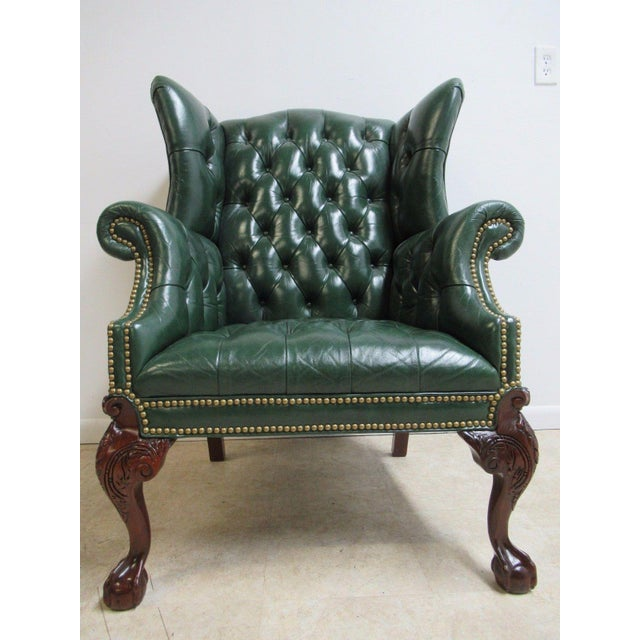 Vintage Chesterfield Style Tufted Ball & Claw Chippendale Wingback Chair - Image 11 of 11
