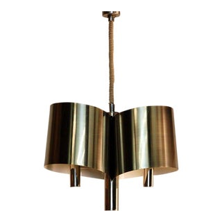 Chic French, 1970s Polished Chrome Ribbon Chandelier by Maison Charles For Sale