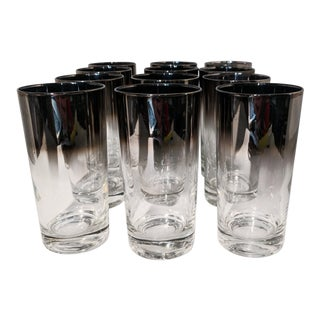 Dorothy Thorpe Style Silver Ombre Highball Cocktail Tumblers - Set of 12 For Sale