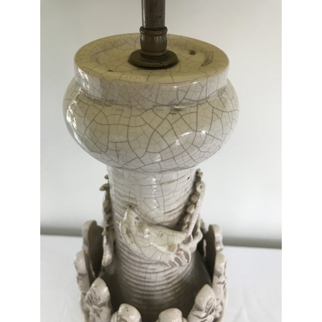James Mont Era Mid Century Modern Porcelain Crackeled Glaze Table Lamp Dragon With Monks Hand Crafted Mahogany Swan Base Ceramic Crackel Glaze Pottery For Sale - Image 12 of 13