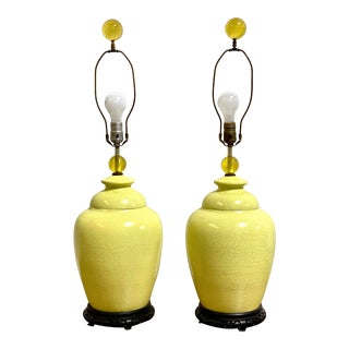 Vintage Chinoiserie Yellow Urn Crackle Glaze Lamp Pair by Chilo For Sale