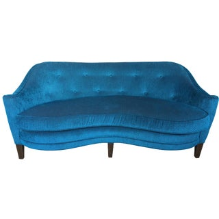 Fully Restored Peacock Blue 1960's Mid Century Settee