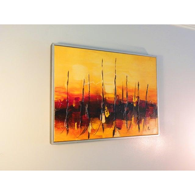 Mid-Century Modern Orange Abstract Painting - Image 3 of 7