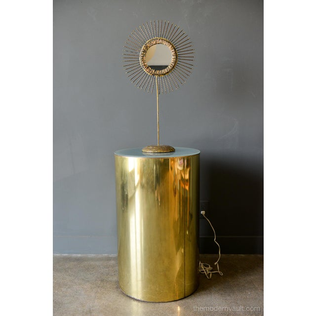 Mid-Century Modern 1980s Vintage Curtis Jere for Artisan House Illuminated Brass Pedestal Stand For Sale - Image 3 of 12