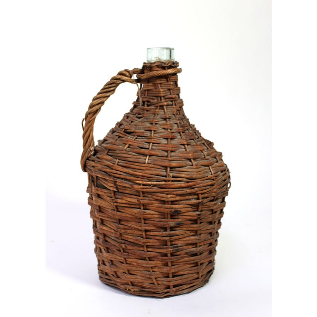 French Provincial Antique Wicker Covered Wine Jug For Sale - Image 3 of 6