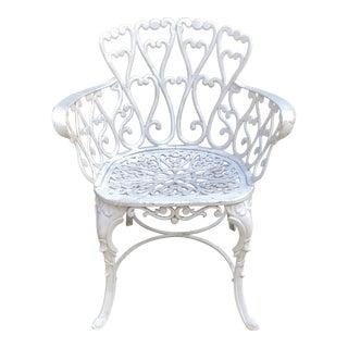 White Cast Iron Garden Chair For Sale