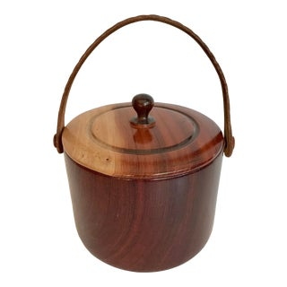 1960s Vintage Handmade Wood and Leather Ice Bucket For Sale