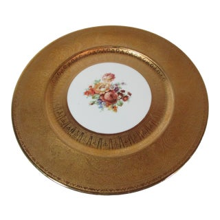 1920s German Art Deco Gold Encrusted Floral Plate For Sale
