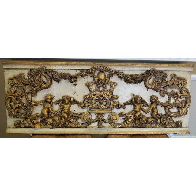 Antique Italian 19th Century Carved Wood Gilded Cherub Putti Panel - Image 2 of 11