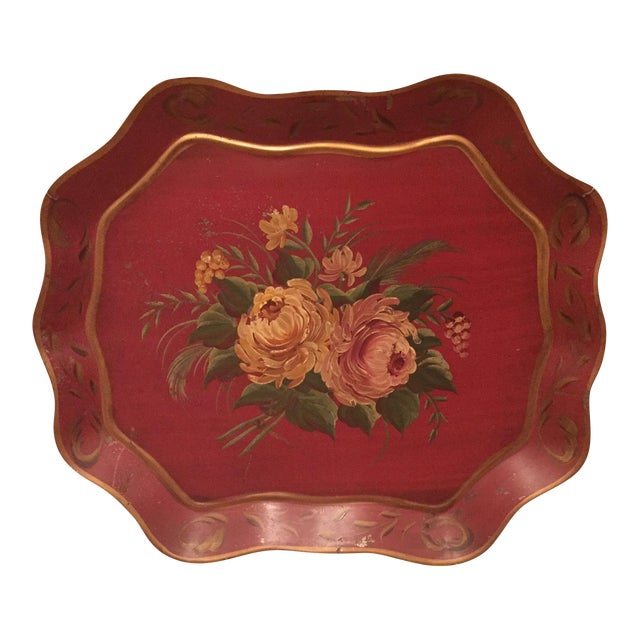 Antique Floral Tole Tray - Image 1 of 7