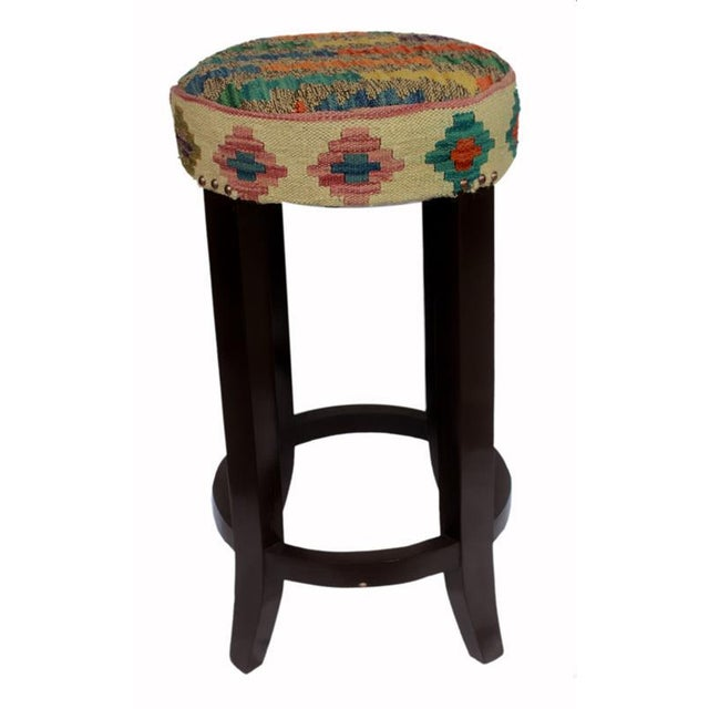 Dino Brown/Ivory Kilim Uphostered Handmade Bar Stool For Sale - Image 4 of 8
