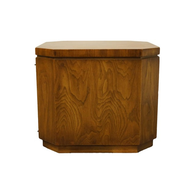 "Wood Drexel Furniture Consensus Collection Contemporary Modern 26"" Bookmatched Walnut Accent Cabinet End Table - 990-370 For Sale - Image 7 of 11"