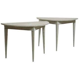 Pair of Gustavian Demilune Console Tables For Sale