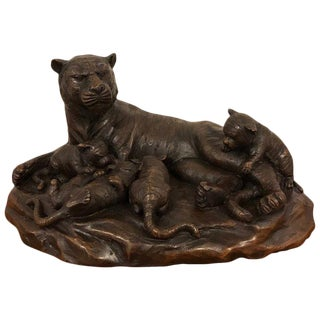 Meiji Period Tigress and Cubs Bronze For Sale