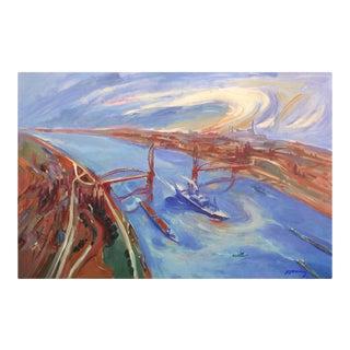 """Drawbridge"" Contemporary Oakland California Landscape Oil Painting For Sale"