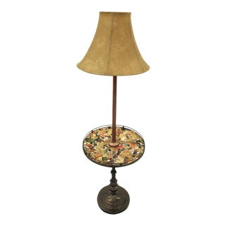 Vintage Floor Lamp With Side Table For Sale