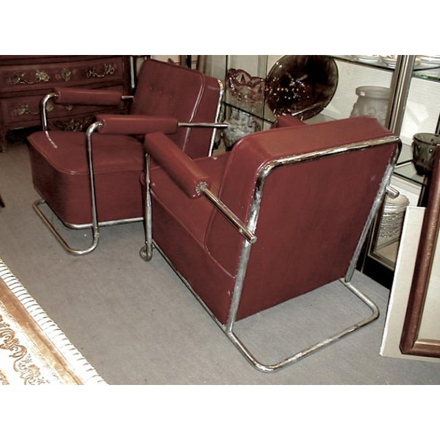 Metal Thonet Frères by René Coquery Documented Modernist Pair of Club Chairs For Sale - Image 7 of 8