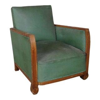 1930s French Green Vinyl Armchair