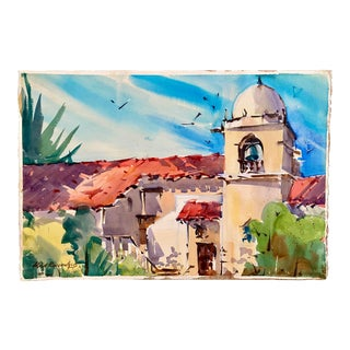Vintage California Mission Watercolor Painting by Rich Buchwald For Sale