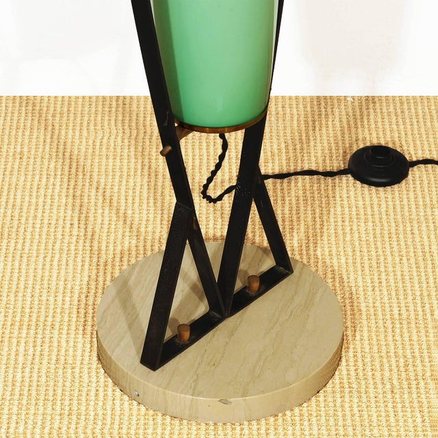 1950s 1950s Standing Lamp, black iron, travertine, brass, celadon green brass - Italy For Sale - Image 5 of 6