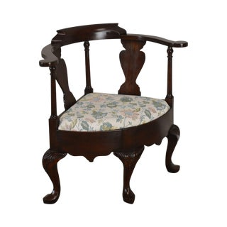 Harden Solid Mahogany Queen Anne Corner Arm Chair For Sale