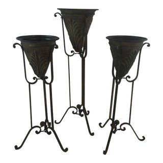 Metal Planters on Stands, Set of Three For Sale