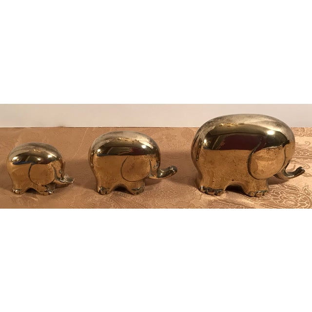 Art Deco Style Brass Elephants - Set of 3 For Sale - Image 4 of 8