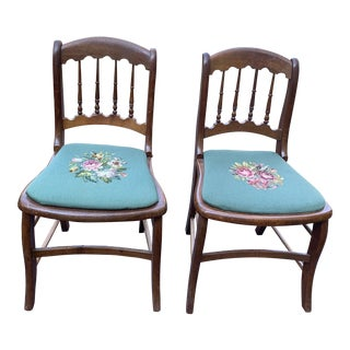 Vintage Needlepoint Seat Wooden Chairs - A Pair For Sale