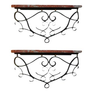 1940s French Art Deco Wrought Iron Wall Brackets-Near - a Pair For Sale