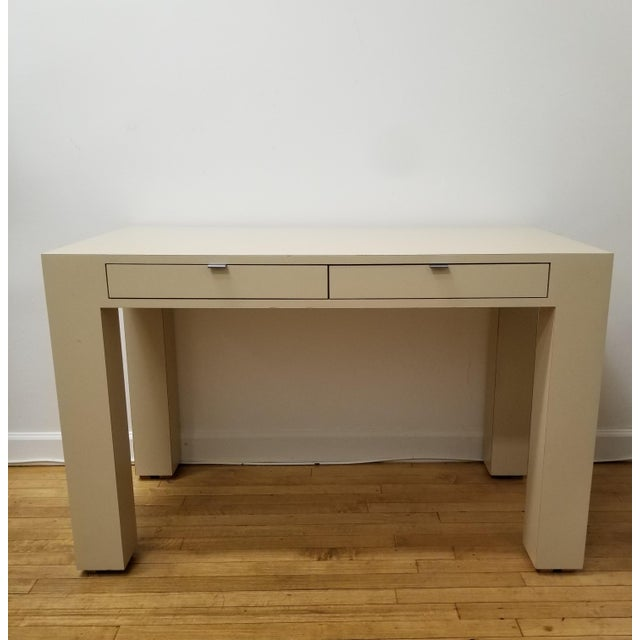 Silver 1970s Mid Century Modern Beige Laminate Parsons Writing Desk For Sale - Image 8 of 8