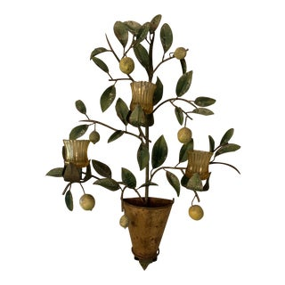 Vintage Italian Tole Lemon Tree Wall Candle Holder For Sale