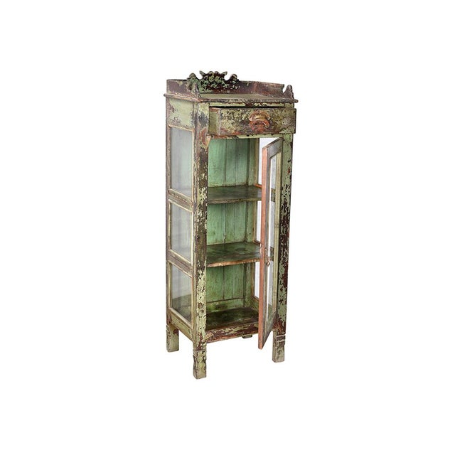 Antique Carved Wood Display Cabinet - Image 2 of 2