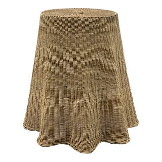 "Vintage Wicker Trompe l'Oeil ""Draped"" Table For Sale"
