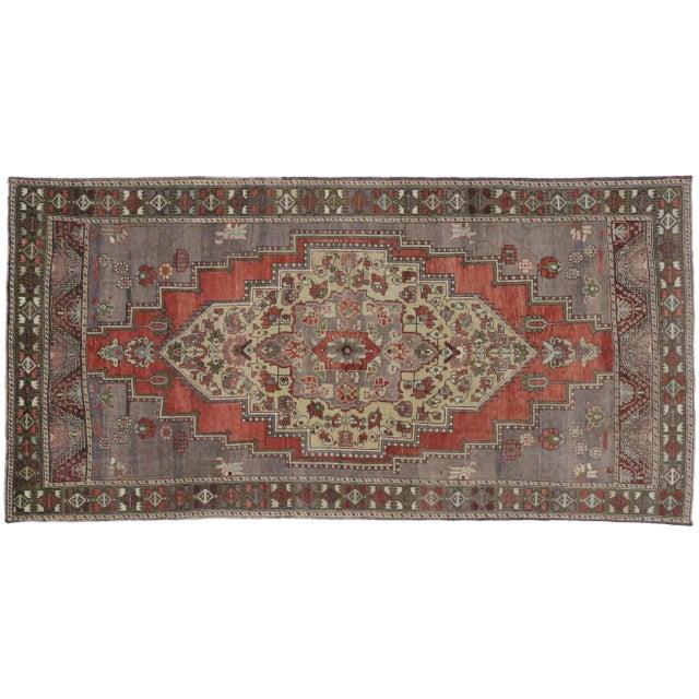 "Vintage Turkish Oushak Carpet Runner - 4'11"" x 9'9"" For Sale"