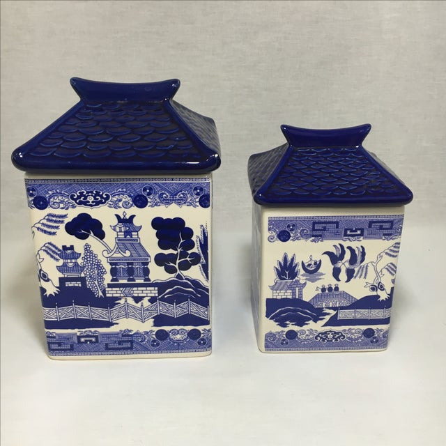 Blue Willow Ceramic Canisters - A Pair - Image 2 of 8