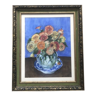 George Copeland Ault, Still Life of Flowers, Original, Signed, Watercolor on Pencil and Paper For Sale
