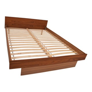 Scandinavian Danish Modern Teak Queen Platform Bed