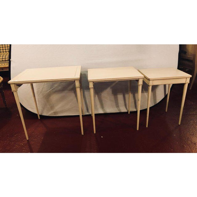 Set of Three White Painted Nesting / Stacking Tables Attributed to Jansen For Sale - Image 12 of 13