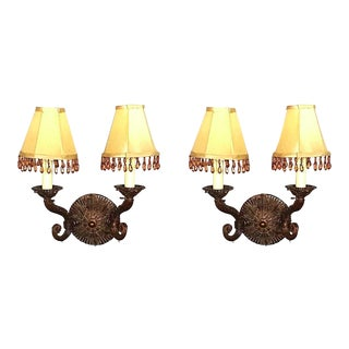 Baroque Bronze & Crystal Sconces - A Pair