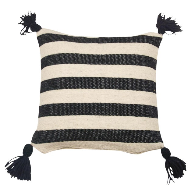 Mexican Black & White Stripe Wool Throw Pillow For Sale