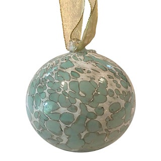 Large Art Glass Ball W/ Gold Ribbon For Sale