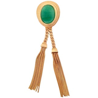 Vintage Gold & Glass Jade Fringe Tassel Brooch For Sale