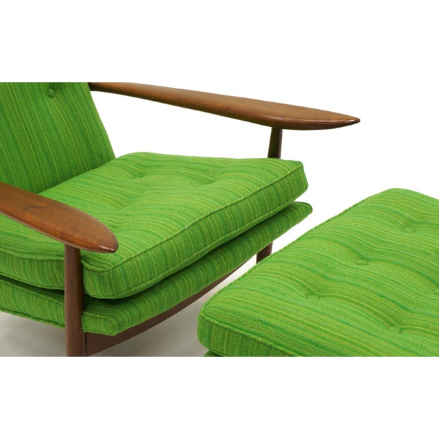 Green Rare George Nakashima for Widdicomb High Back Lounge Chair and Ottoman For Sale - Image 8 of 11