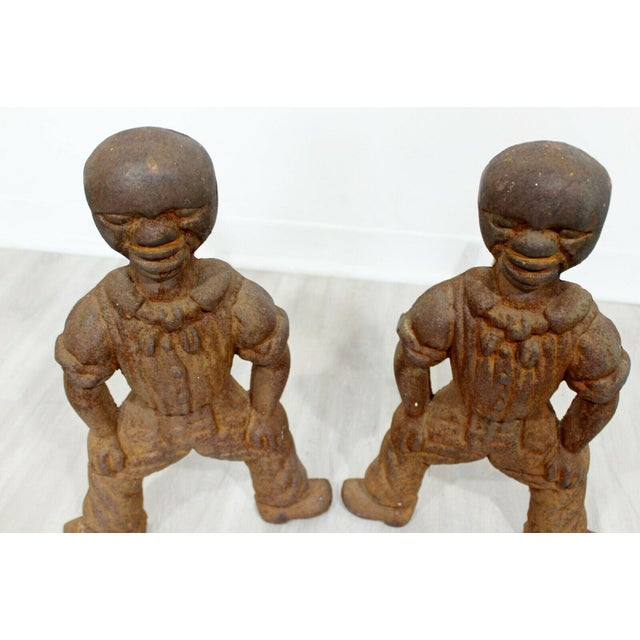 Antique Brutalist Iron African Art Male Figurine Fireplace Log Andirons - A Pair For Sale In Detroit - Image 6 of 7