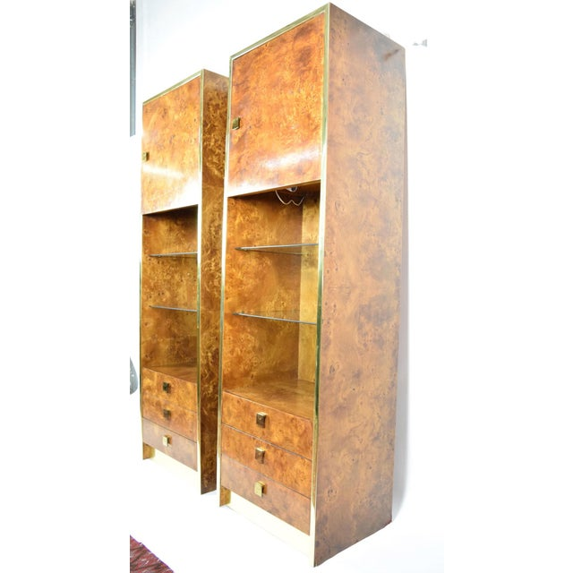 Milo Baughman Styled Burled Walnut Wall Units by Founders of Thomasvile - A Pair For Sale In Dallas - Image 6 of 10