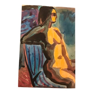 Mid-Century 1960 James F Bone Female Nude Watercolor For Sale