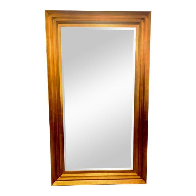 Art Deco Gold Leaf Beveled Glass Mirror For Sale